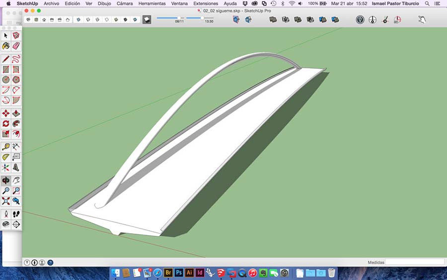Ejercicio herramienta sígueme en Sketchup PRO