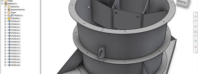 Pieza industrial modelado inventor