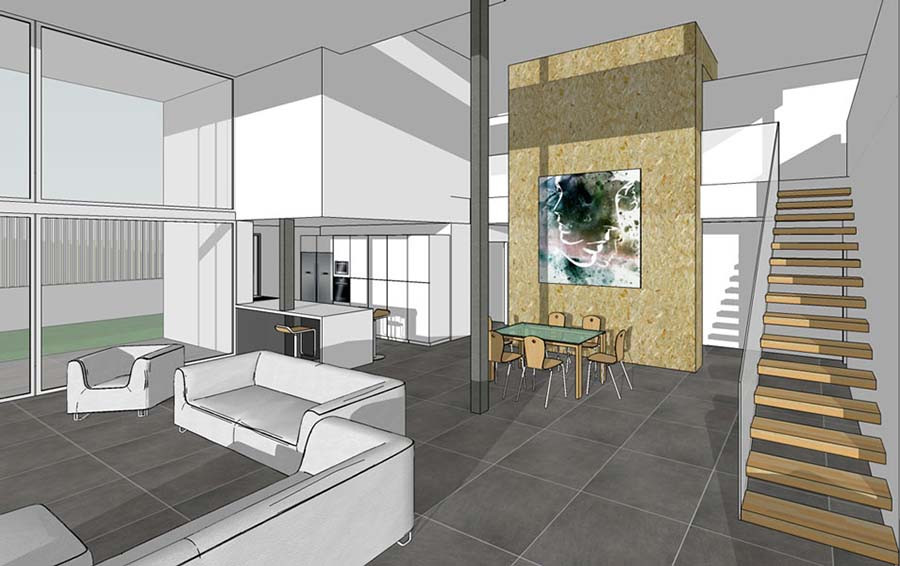 Vista interior modelo 3d con materiales