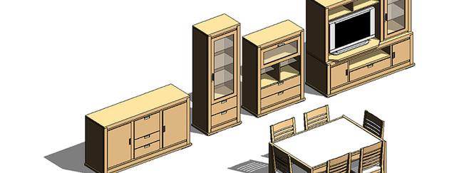 Composición de mobiliario 2 Revit Familias