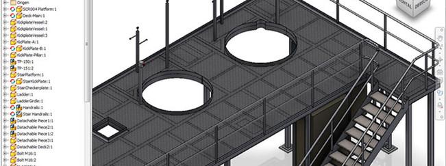Plataforma con escalera Inventor