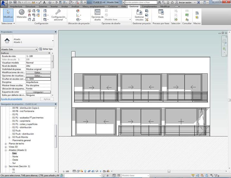 Alzado realizado en curso de Revit Architecture