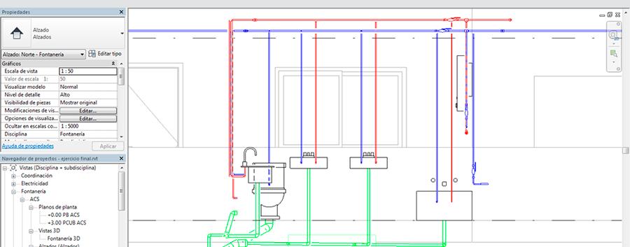 Alzado plano de fontaneria del curso de Revit MEP