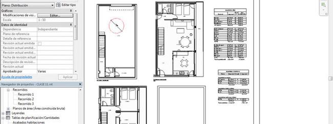 Plano de cotas y superficies del curso de Revit Architecture