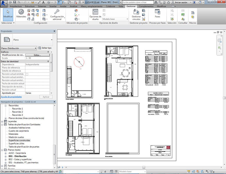 Plano de cotas y superficies del curso de Revit Architecture