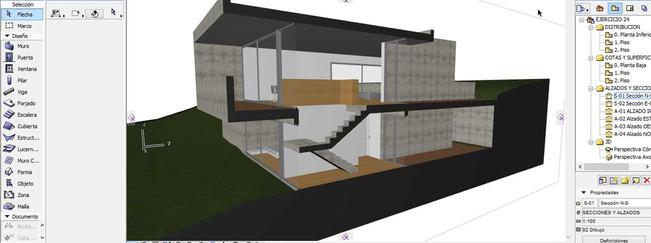 Sección constructiva con materiales Archicad