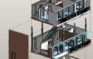 Vista 3d explosionada en curso de Revit Architecture