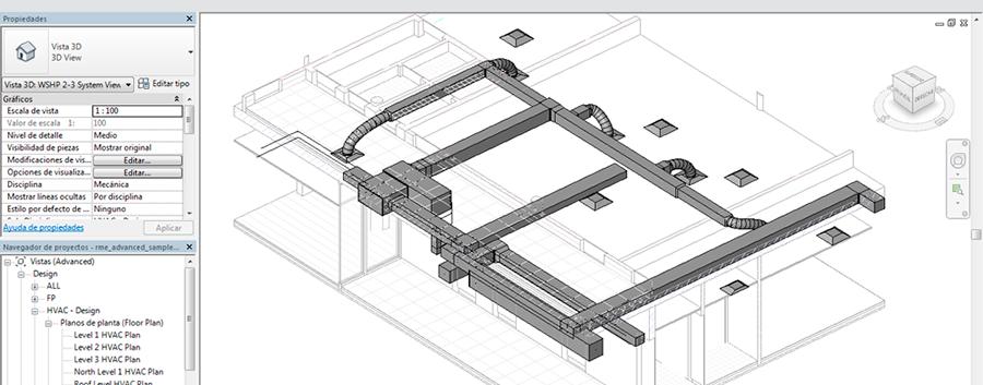 Vista 3D plano climatización curso Revit MEP