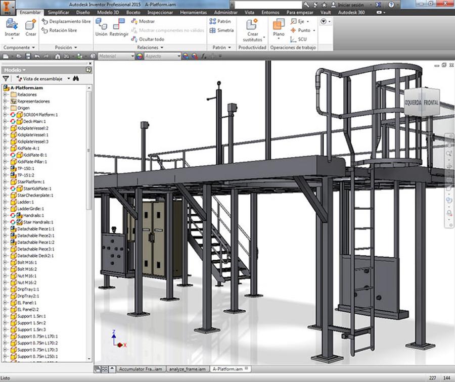 Estructura en 3d con escalera Inventor