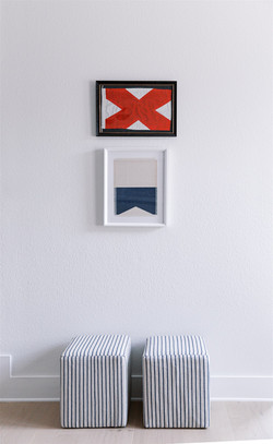 Flag artwork and striped poufs by Laura Design and Co, Dallas interior designer