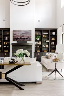 X base console table, linen sofa by Laur