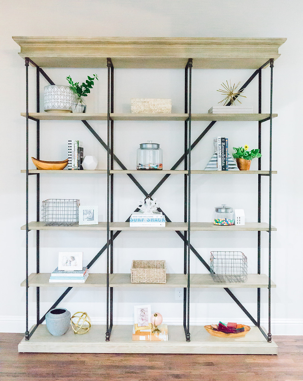 Styled bookshelf design by Laura Design and Co, Dallas based interior designer