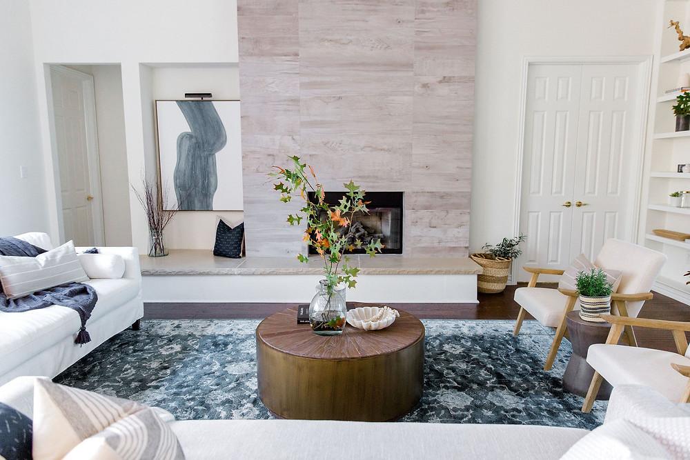 Living room design by Laura Design & Co, Flower Mound interior designer