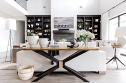 Transitional living room design with des