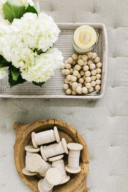 Ottoman styling with rattan tray, vintag