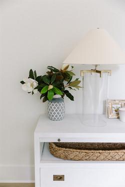 White nightstand, glass lamp design by Laura Design and Co, Dallas interior designer