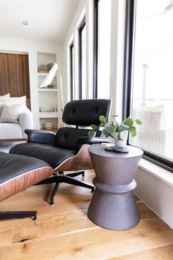 Master bedroom design featuring wool rug