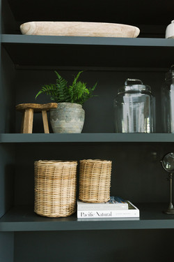 Dark builtins and shelf styling by Laura