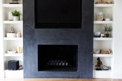 Fireplace & shelf styling by Laura Desig