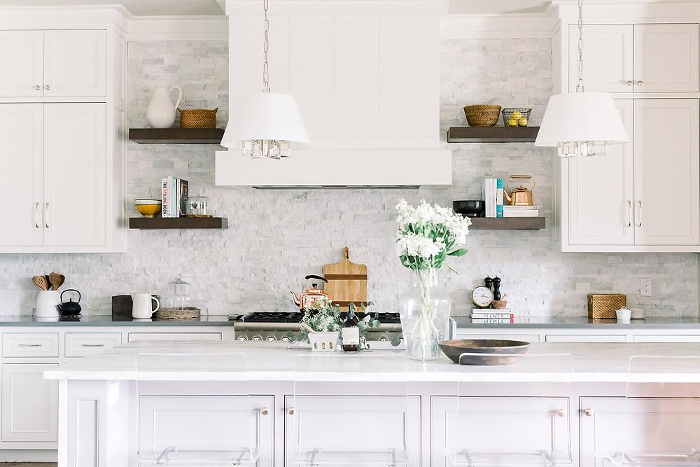 Light and bright kitchen design by Laura Design and Co, Flower Mound based interior designer