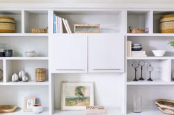 Gray builtins and accessories by Laura Design and Co, Dallas interior designer