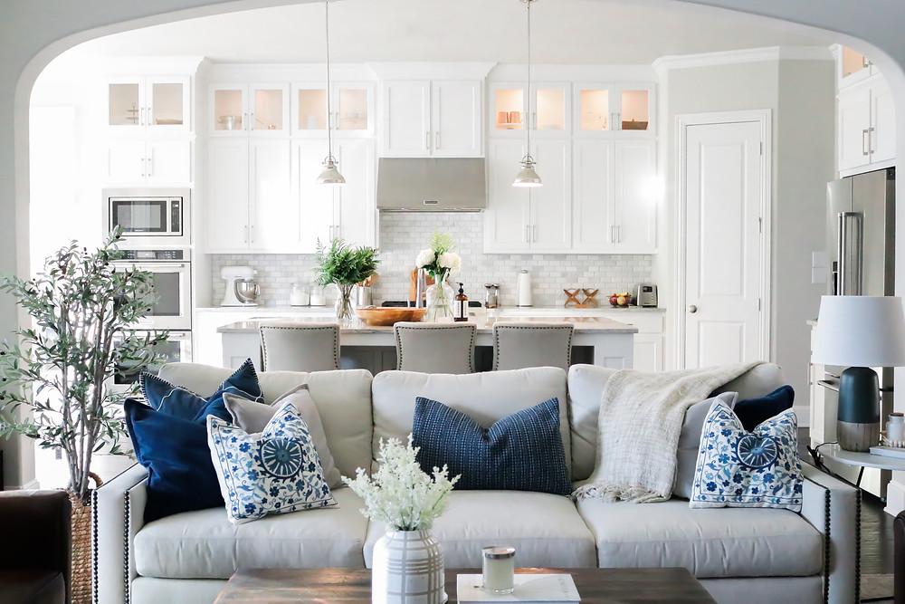 Light and bright kitchen design by Laura Design and Co, Dallas based interior designer