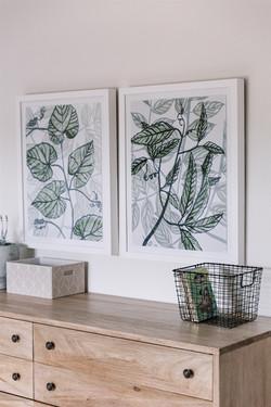Bleached walnut dresser, greenery artwork, kids bedroom design by Laura Design and Co, Dal