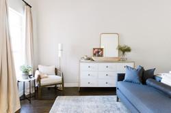 White and brass dresser, bedroom design