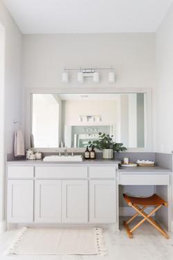 Bathroom design using gray cabinets, tea