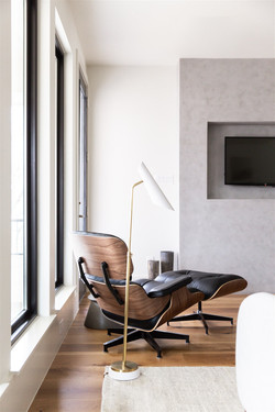 Gray plaster fireplace design, primary b