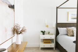 Bedroom design featuring canopy bed, bra