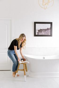Bathroom design with brass chandelier, s