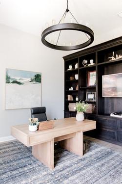 Home office design with Roark chandelier