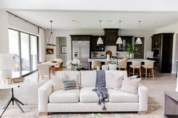 Transitional living room design using li