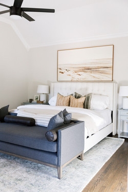 Bedroom design with landscape artwork, l
