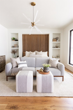 Bedroom design featuring reeded accent w