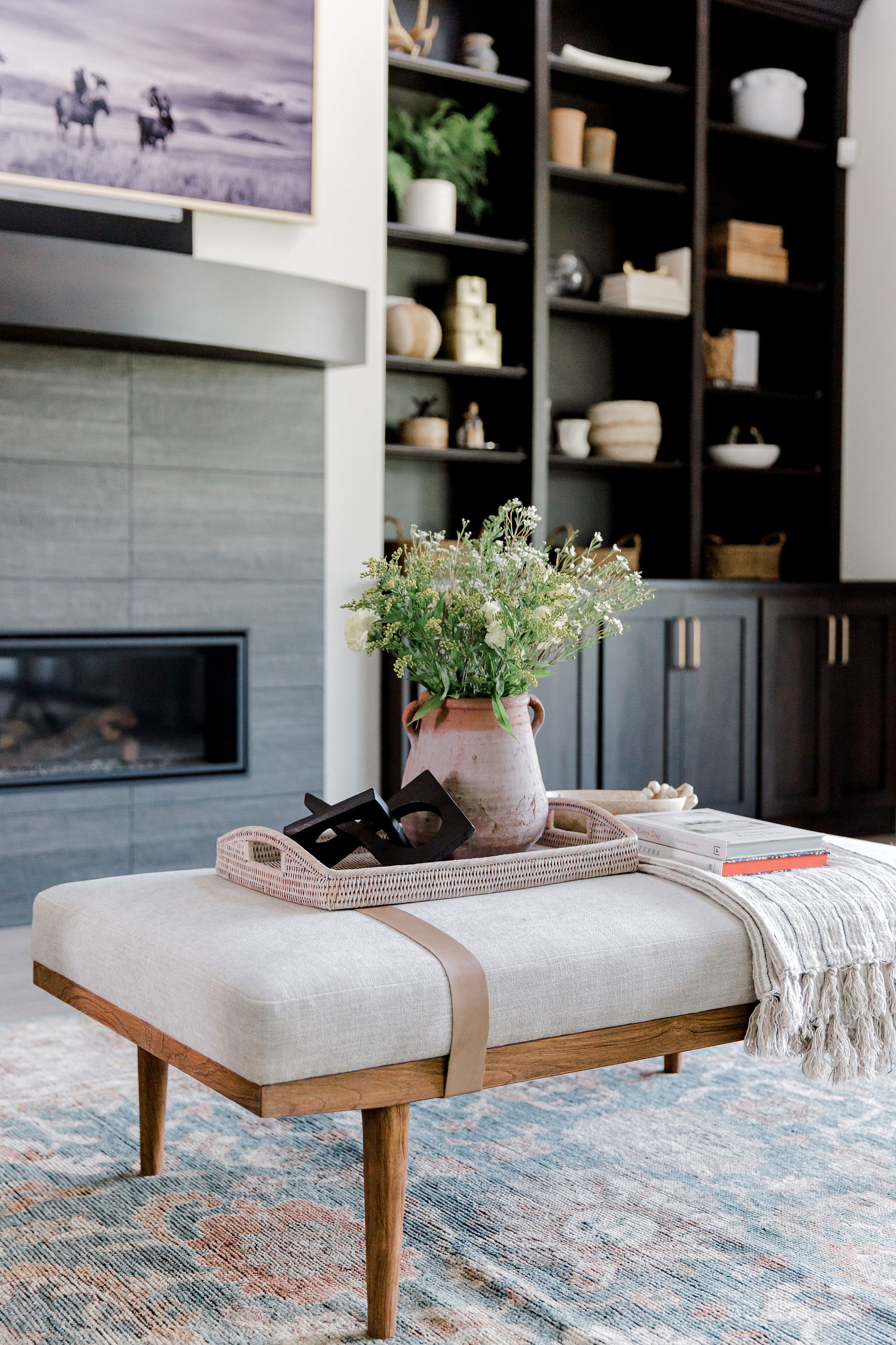 Teak and linen coffee table styling by L
