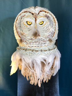 "SOLD Snow Owl - $850, 12""W x 21""H x 5""D"