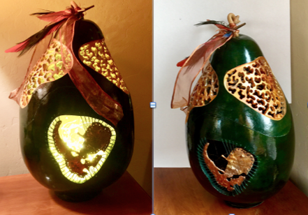 Carved & Lighted Deep Green Tall Body Gourd
