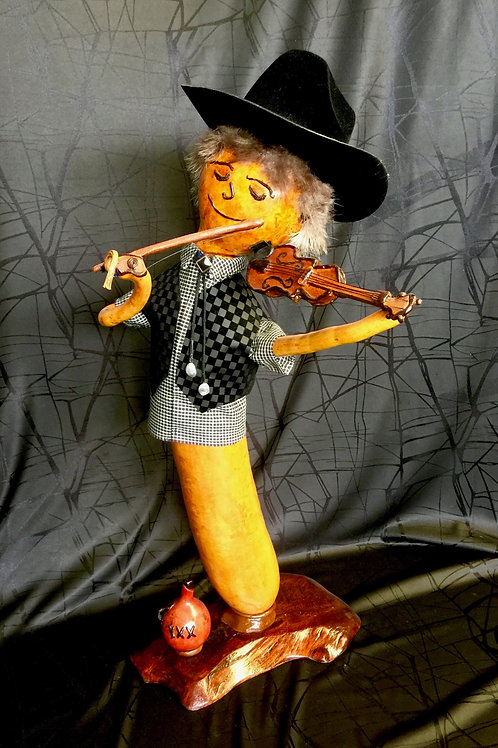 Fiddling Cowboy with Black Hat