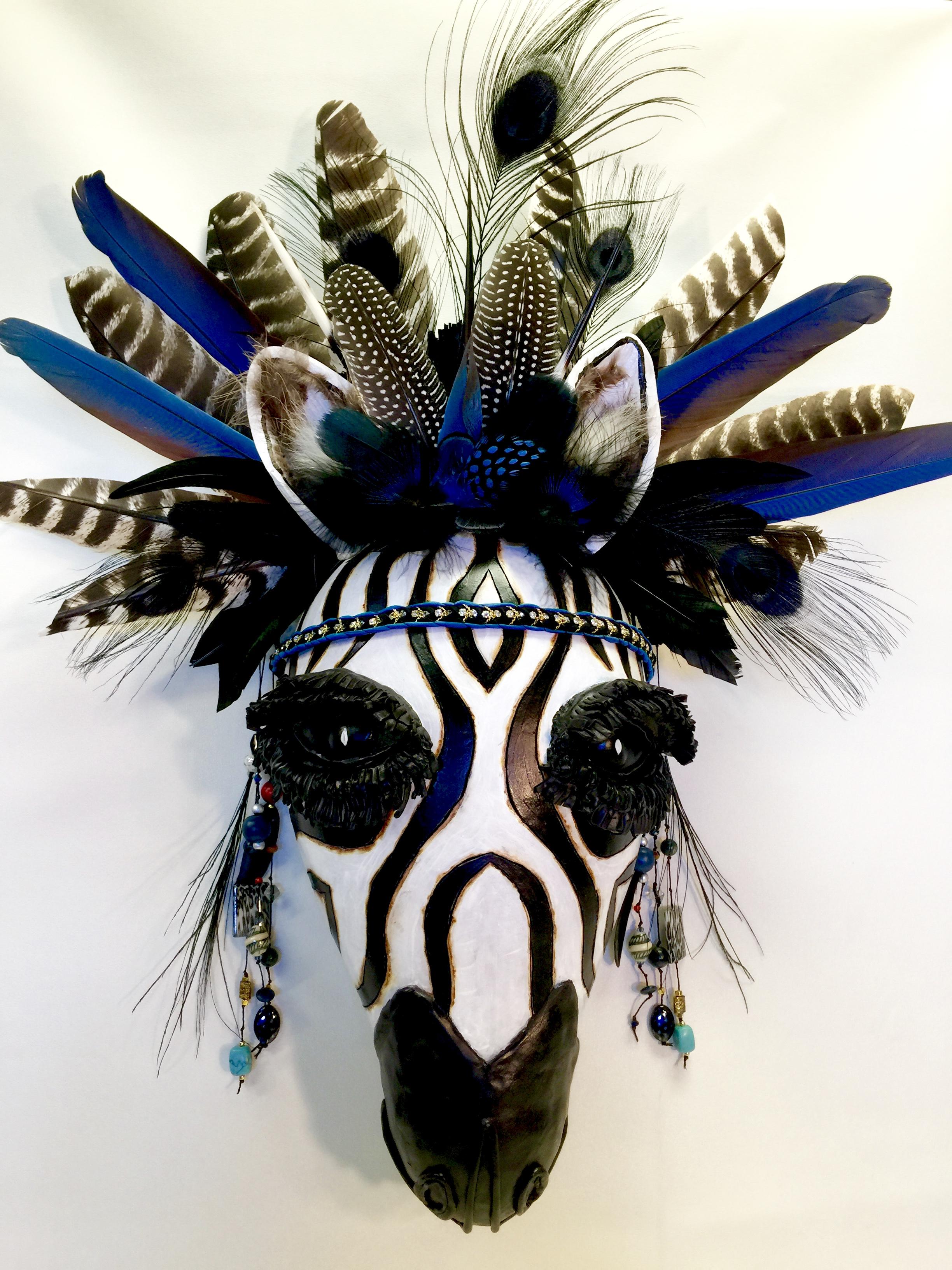 "Blue Zebra Gourd Mask14"" W x 30""H"