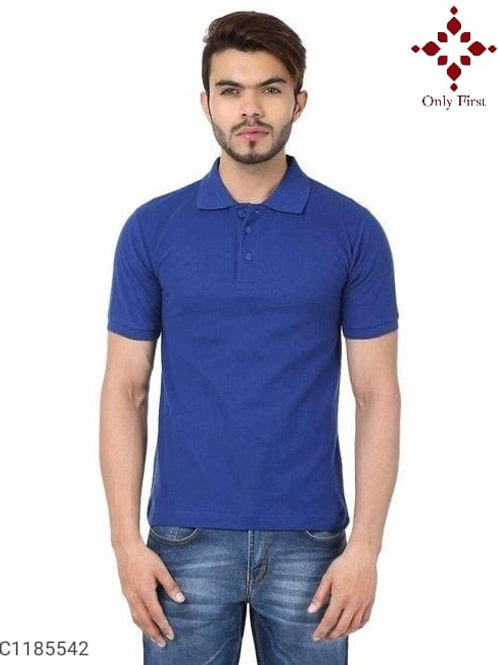 Blue Poly Cotton Solid Half Sleeves T-Shirt Vol-1