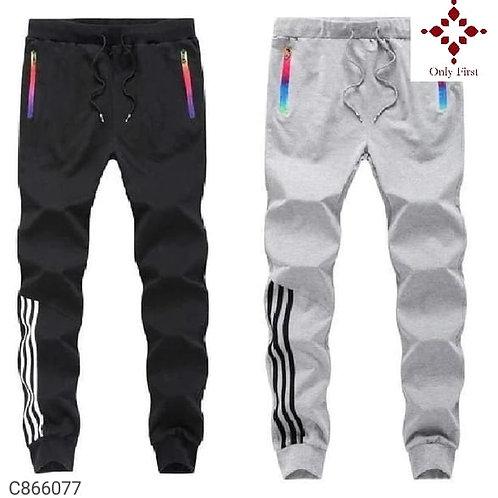 Black & Grey Polyknit Solid Slim Fit Track Pants( Buy 1 Get 1 Free )
