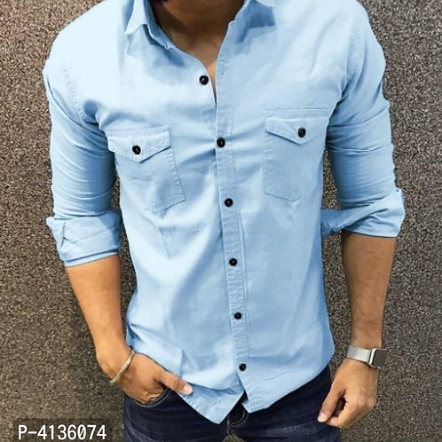 Blue Cotton Solid Long Sleeves Casual Shirt