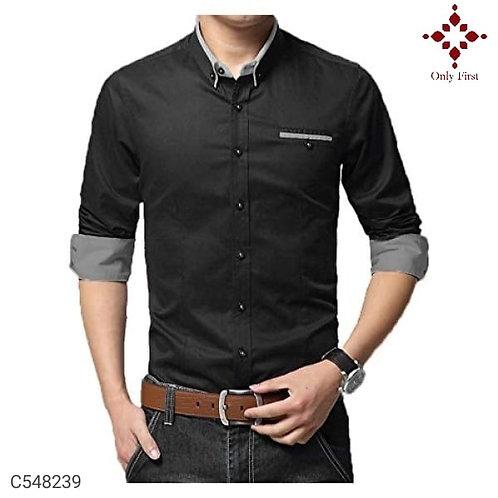 Black Cotton Solid Slim-Fit Shirt