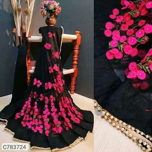 Black Glamorous Heavy Net Embroidered With Pearl Piping Lace