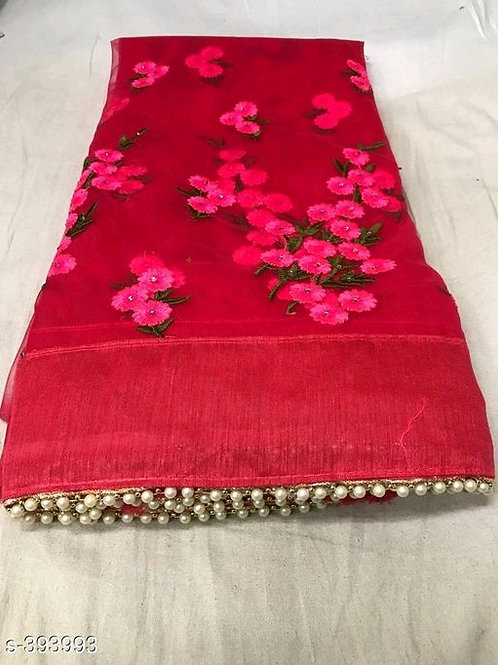 Anvitha Red Embroidered Net Sarees with Lace border7