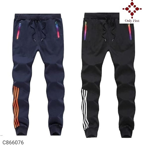 Black & Blue Polyknit Solid Slim Fit Track Pants( Buy 1 Get 1 Free )