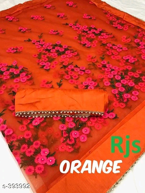 Anvitha Red Embroidered Net Sarees with Lace border5