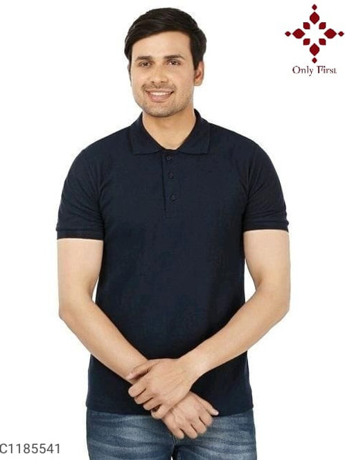 Black Poly Cotton Solid Half Sleeves T-Shirt Vol-1